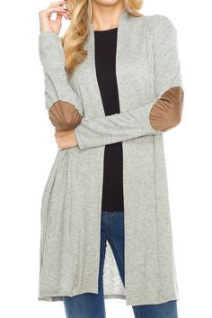 Suede Elbow Patch Cardigan