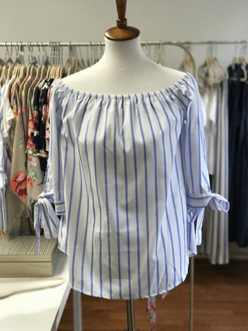 Off Shoulder Stripe Top with Tie Sleeve Detail