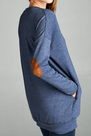 Tunic Sweatshirt with Elbow Patches and Pockets