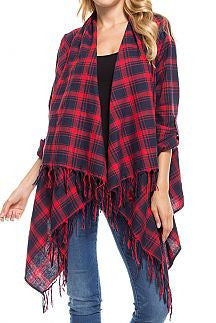 Plaid Asymmetrical Fringe Detail Cardigan