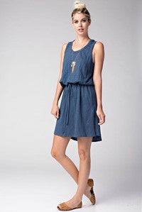 Round Neck Racer Back Gathered Drawstring Dress