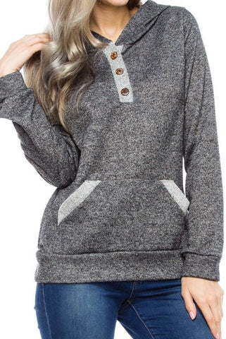 Heather Pocket Three Button Detail Lightweight Hooded Sweatshirt