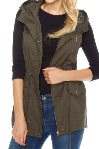 Hooded Vest with Zipper and Tassel Detail