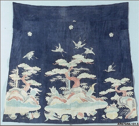 Indigo Dyed Fabric with Cranes, Tortoises and Pines painted in dye