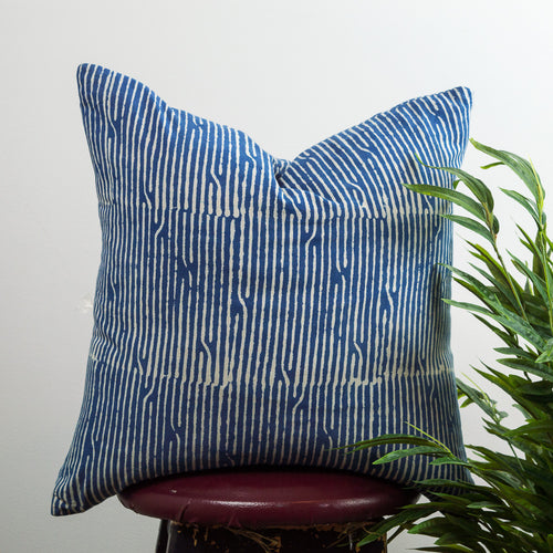 Broken Lines Indigo Cotton Cushion Cover