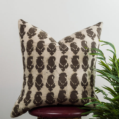 Rustic Distressed Block-printed Natural Dyed Cushion Cover