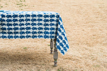Natural Indigo Paisley Cotton Tablecloth