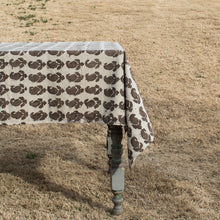Rustic Natural Dyed Brown Paisley Cotton Tablecloth