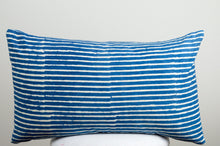 Natural Indigo Blue Stripes Cotton Lumbar Pillow