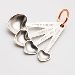 Heart Shaped Measuring Spoons with Quotes