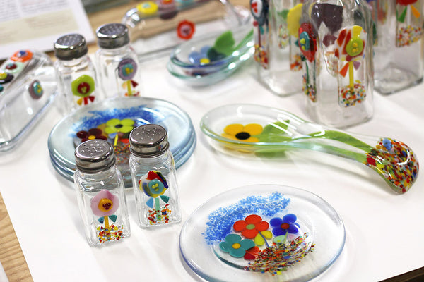 collection of fused glass art