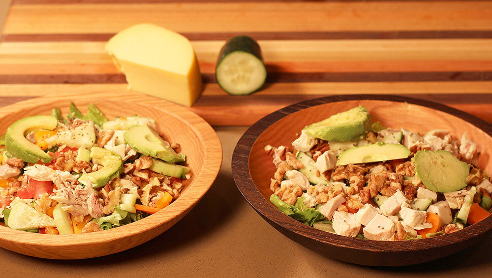 salad in wood bowls