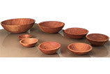 eight wood bowls