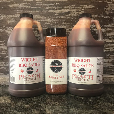 Two Half Gallons Peach Chipotle BBQ Sauce And 27oz Wright Rub