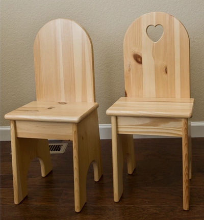 Child's Solid Back Wood Chair