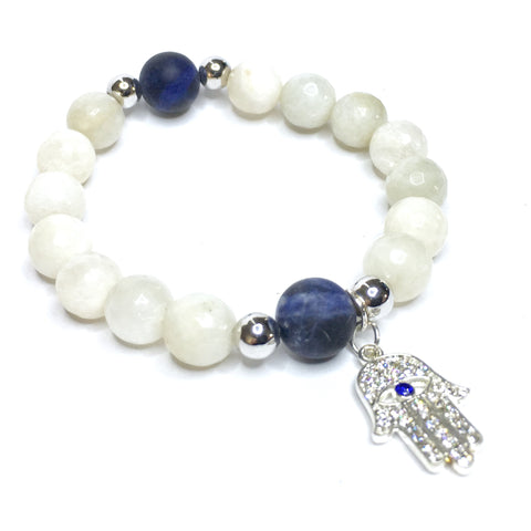 Sodalite and Moonstone Hamsa