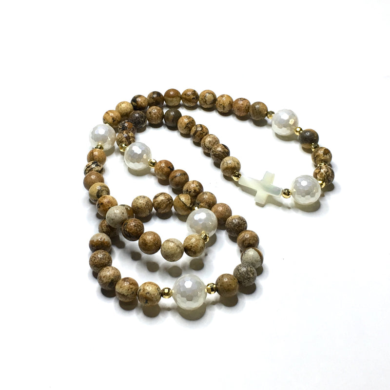Jasper and Mother of Pearl Rosary - SIMPLY SOFIA