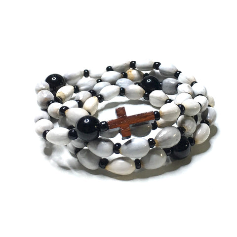 Lava Stone and Matte Onyx Rosary with Pyrite Cross