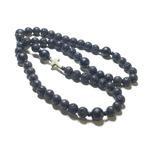 Lava Stone and Matte Onyx Rosary with Pyrite Cross - SIMPLY SOFIA