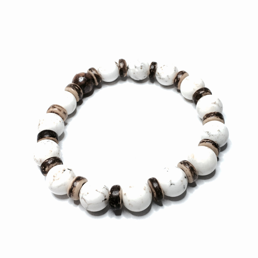 HOWLITE WITH WOOD ACCENTS BRACELET - SIMPLY SOFIA