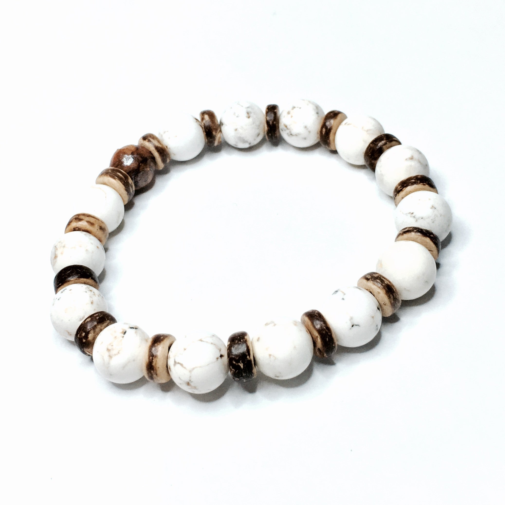 HOWLITE WITH WOOD ACCENTS BRACELET