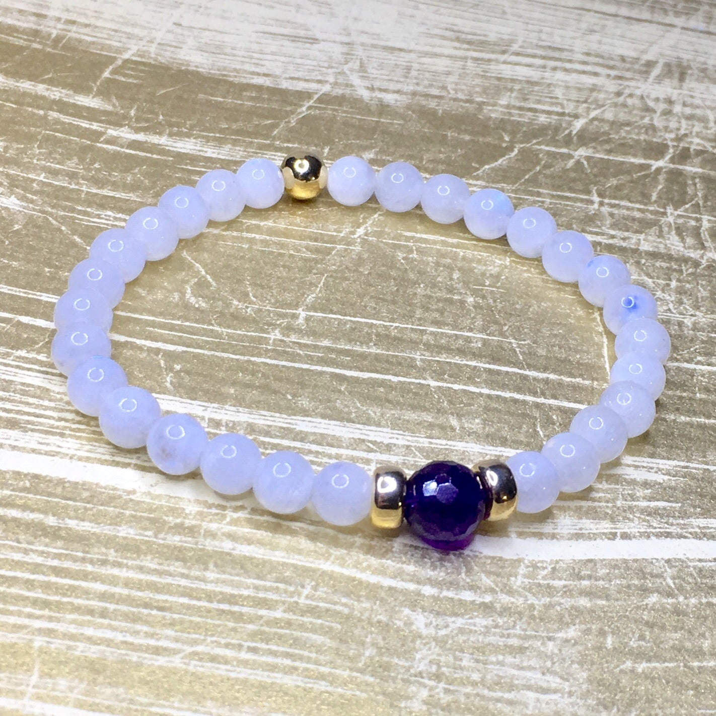 Little Gem Collection ~ Moonstone, Faceted Amethyst + Gold Filled Accents - SIMPLY SOFIA