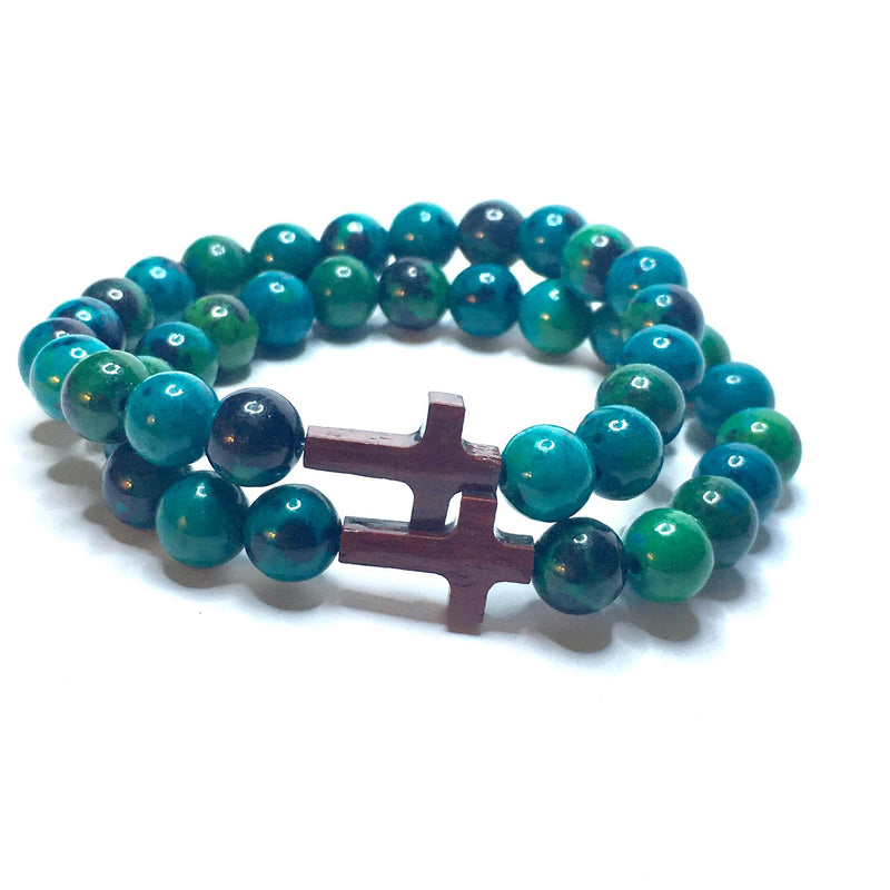 NEW BEGINNINGS IN SACRED TIMES - Chrysocolla & Wood - SIMPLY SOFIA