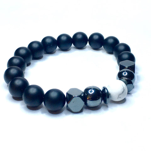 TIERRA - Triple Wrist Wrap/Necklace Featuring Genuine Natural Onyx & Wood Shamballa Style