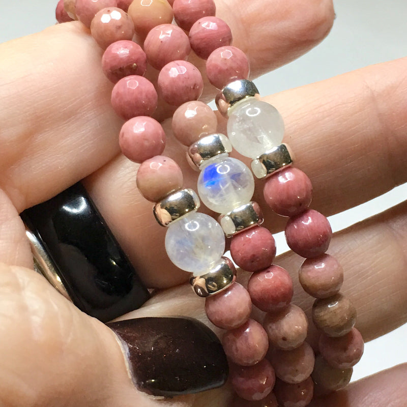 Rhodonite & Blue Flash Moonstone Bracelet - SIMPLY SOFIA