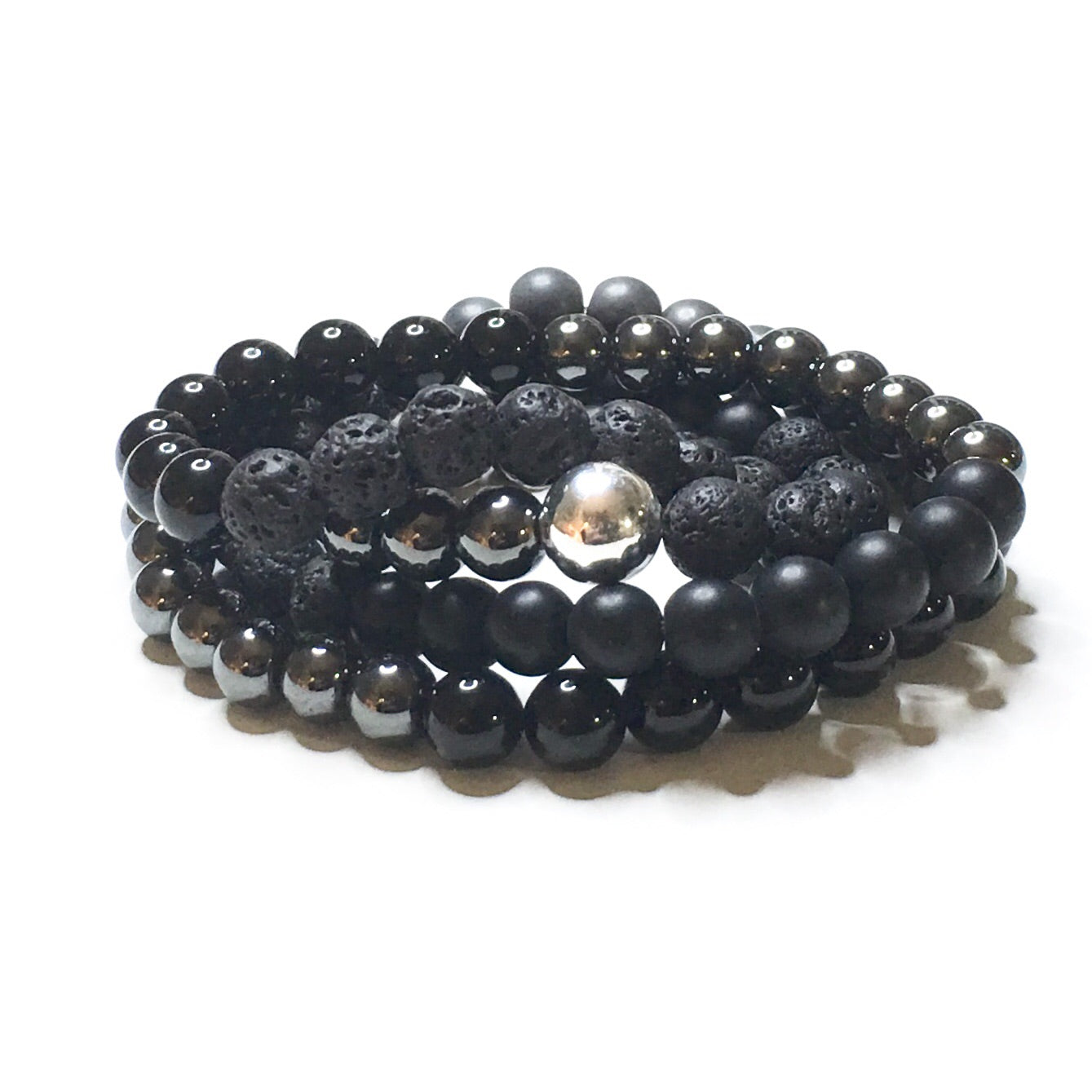 Black & Grey with Sterling Silver Mala - SIMPLY SOFIA