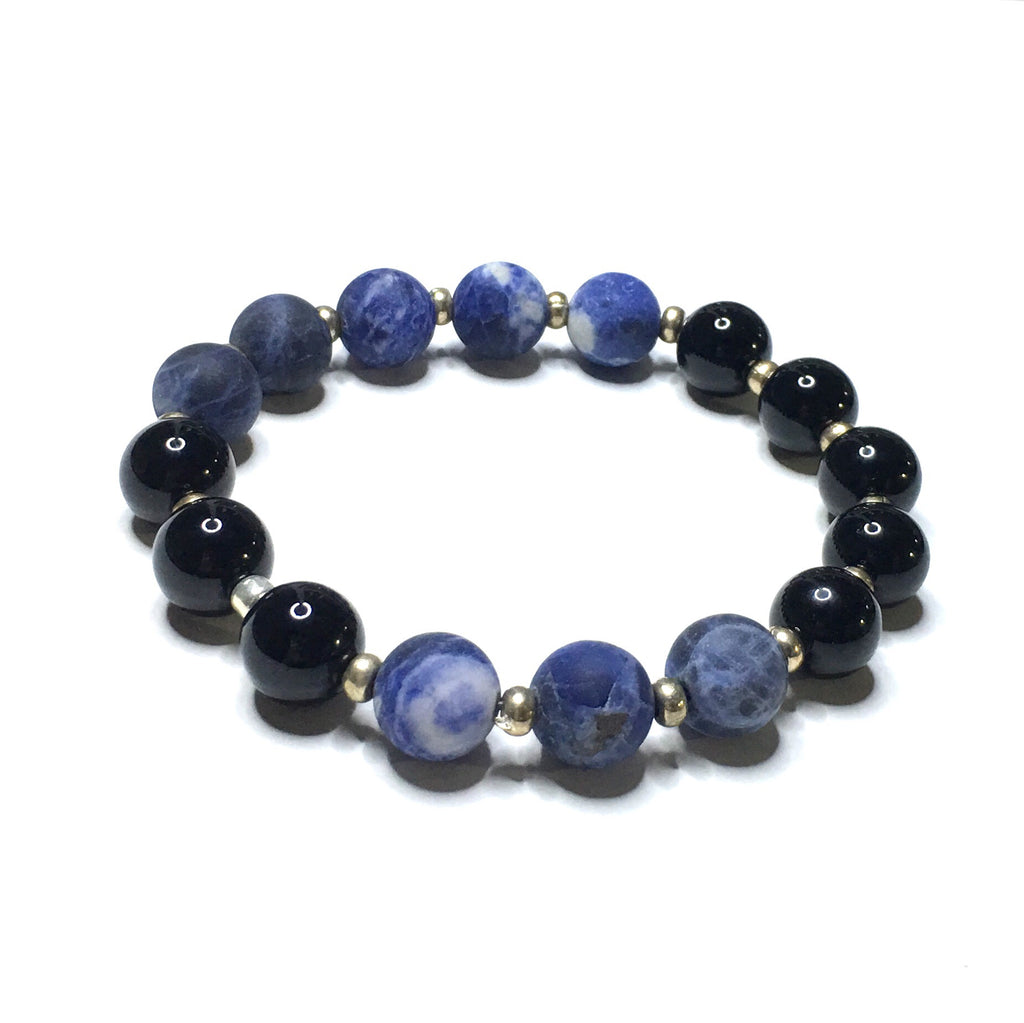 Matte Blue Howlite + Black Onyx Power Stones - SIMPLY SOFIA