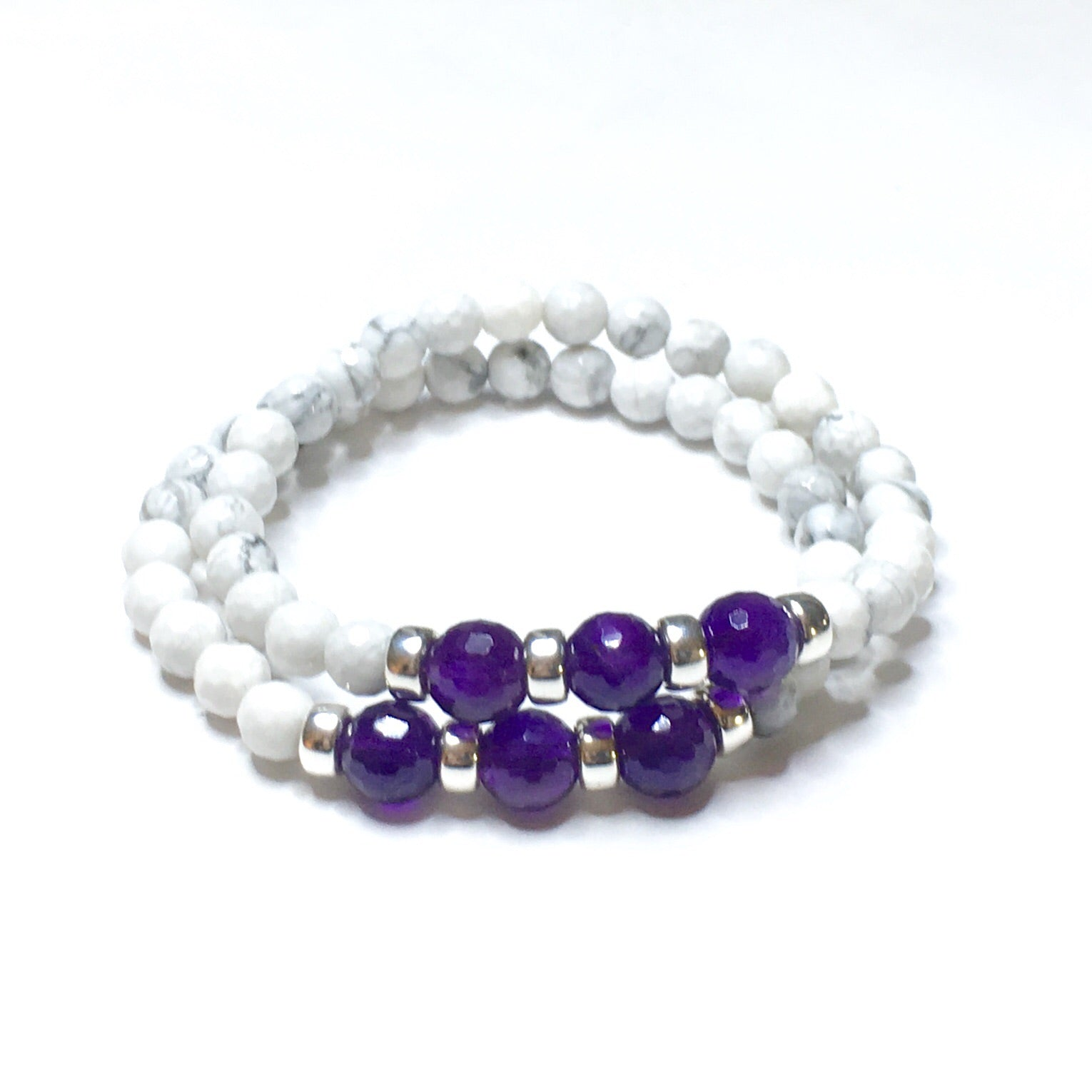 Faceted Amethyst & Faceted Howlite Bracelet - SIMPLY SOFIA