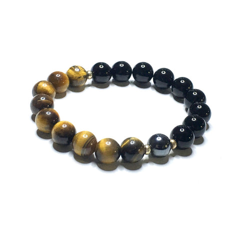 TIBETAN Double Ebony Wood Bracelet featuring Polished Tiger's Eye ➕ Ganesha Medallion