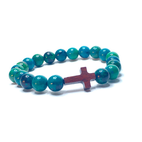 NEW BEGINNINGS IN SACRED TIMES - Chrysocolla & Wood