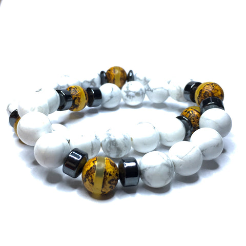 DOUBLE WRAP NATIVE AMERICAN & WHITE HEART GLASS TRADE BEADS