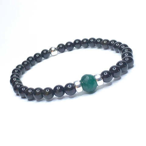 Double Row Stainless Steel + Wood Shamballa Bracelet