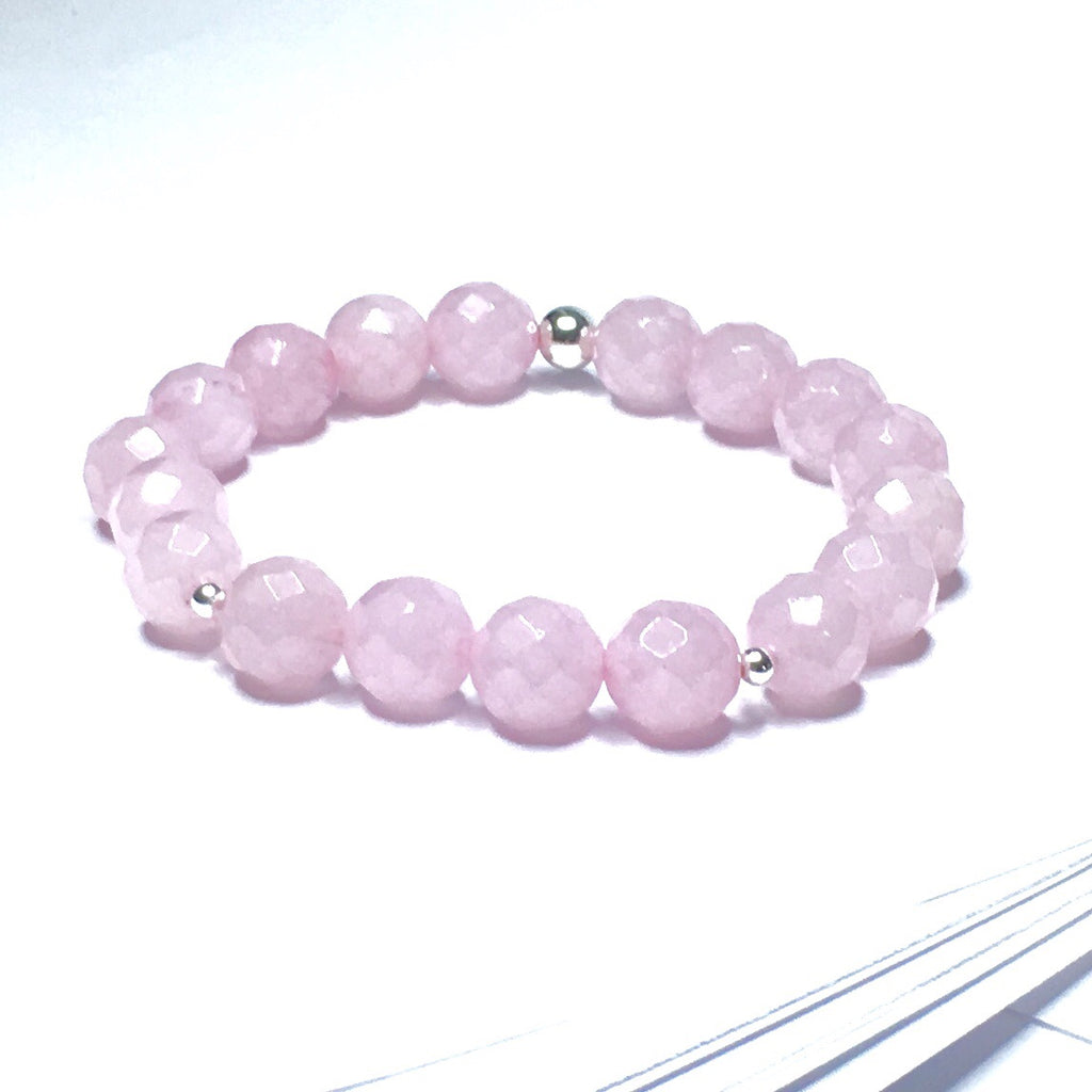 FACETED ROSE QUARTZ CRYSTAL BRACELET - SIMPLY SOFIA