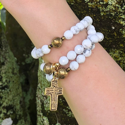 Matte White Howlite & Chrysocolla Rosary with Jade Cross & Sterling Silver Accents