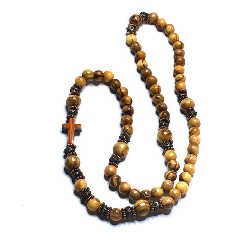 JOB'S TEAR SEEDS, WOODEN CROSS + LAVA STONE ROSARY