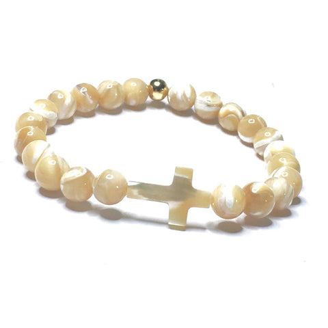 TIGER'S EYE ROSARY WRAP WITH JADE CROSS