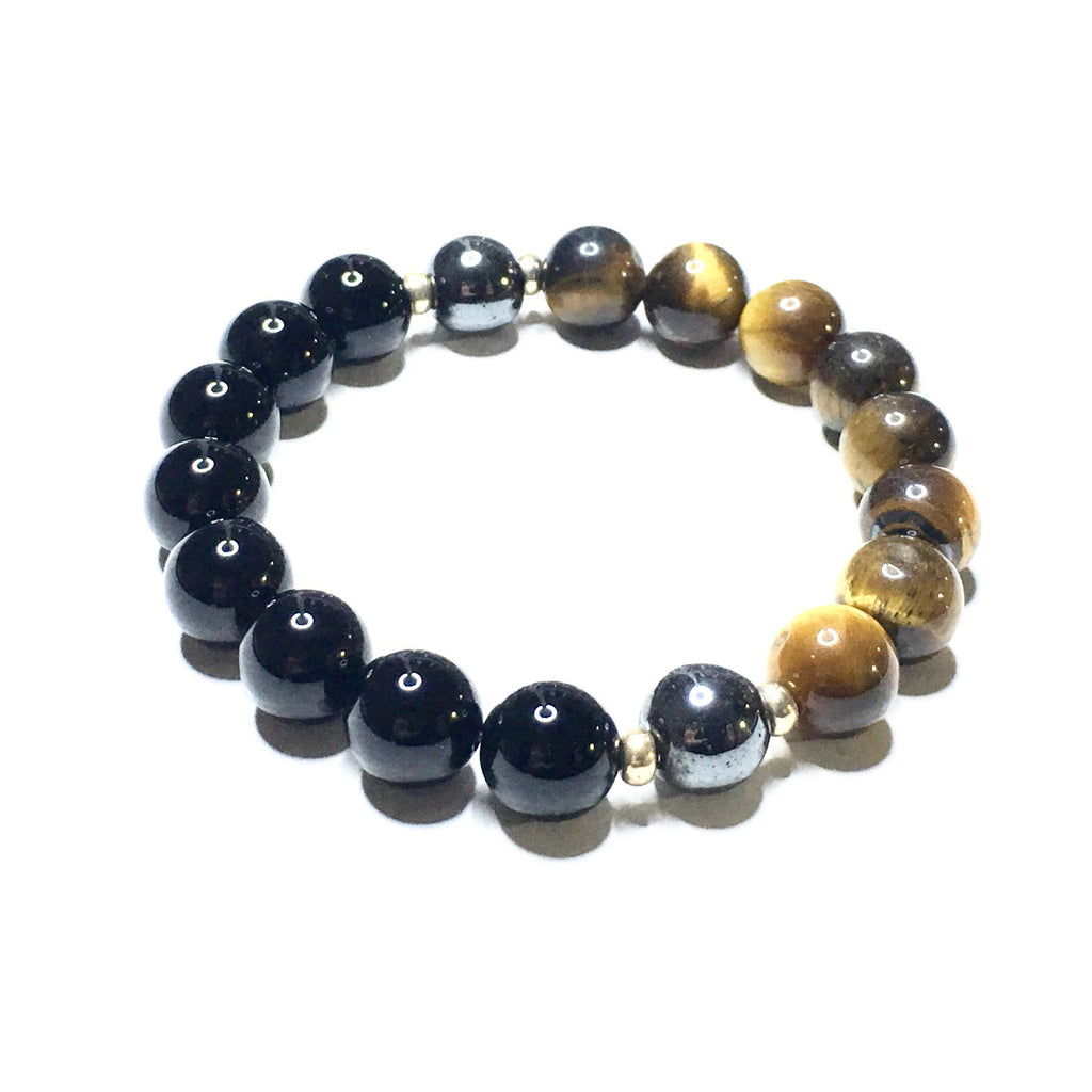 Power Stones - Polished Black Onyx + Hematite + Tiger's Eye - SIMPLY SOFIA