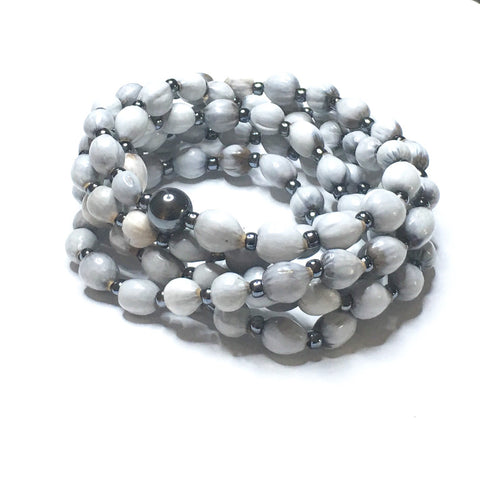 Black & Grey with Sterling Silver Mala