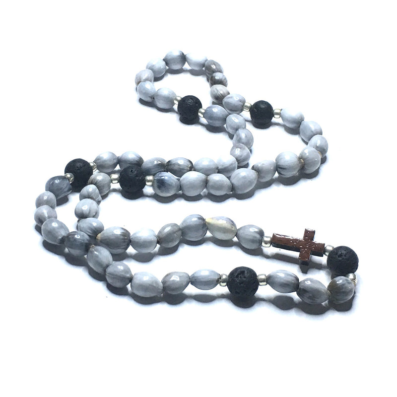 JOB'S TEAR SEEDS, WOODEN CROSS + LAVA STONE ROSARY - SIMPLY SOFIA