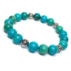 POLISHED TURQUOISE WITH ANTIQUE SILVER ACCENTS