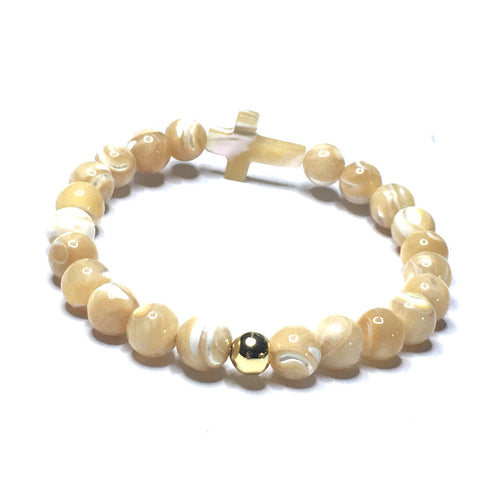 MOTHER OF PEARL CROSS BRACELET WITH GOLD FILLED ACCENT - SIMPLY SOFIA