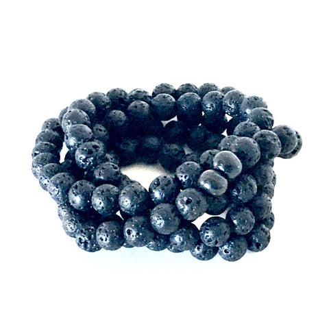 DOUBLE WRAP MATTE ONYX & TRADE BEAD BRACELET
