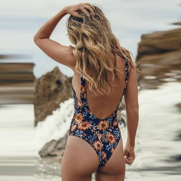 Monokini Print String  One Piece Swimsuit
