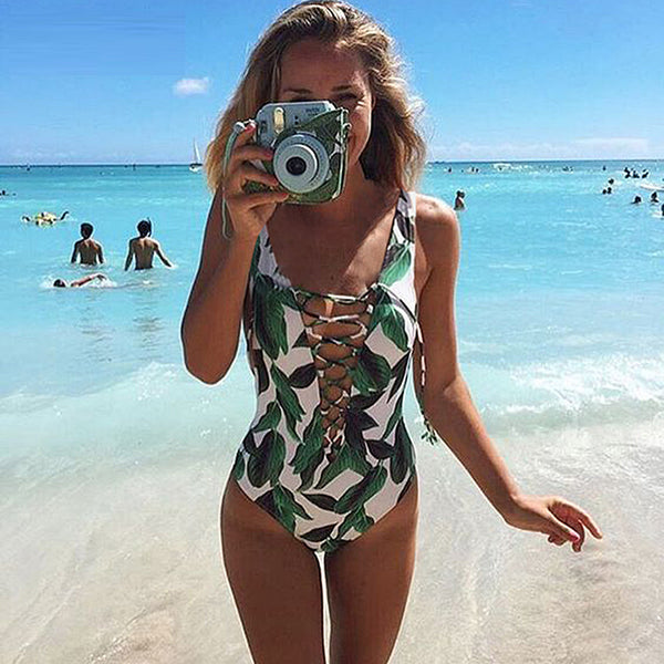 One Piece Floral Print Bathing Suit