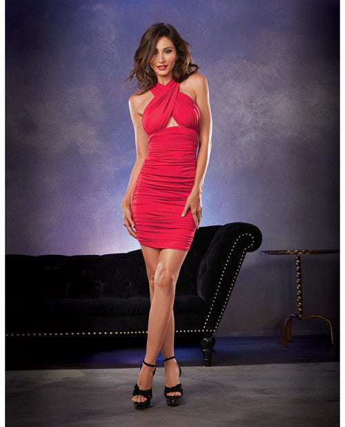 Stretch Jersey Ruched Front Mid Thigh Length Versatile Dress That Can be Worn 6 Ways Red SM - EZGetOne