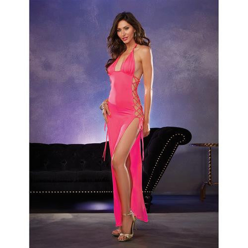 Strtch Jersey Full Lngth Unlined Hlter Dress w/Opn Sies & Adjstable Lce Up Ties Flamingo Pink O/S - EZGetOne